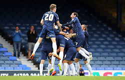 Southend United players mob Adam Barrett (hidden) after he scored the opening goal - Mandatory byline: Joe Dent/JMP - 07966386802 - 05/09/2015 - FOOTBALL - Roots Hall -Southend,England - Southend United v Peterborough United - Sky Bet League One