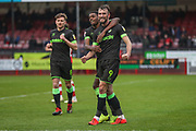 Forest Green Rovers Christian Doidge(9) scores a goal 1-2 and celebrates with Forest Green Rovers Reece Brown(10) during the EFL Sky Bet League 2 match between Crawley Town and Forest Green Rovers at The People's Pension Stadium, Crawley, England on 6 April 2019.