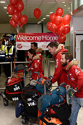 Team Glenfiddich return home to Heathrow.<br /> The Walking With the Wounded South Pole Allied Challenge 2013 teams return to Heathrow Airport after successfully reaching the South Pole.<br />  Monday, 23rd December 2013. Picture by Ben Stevens / i-Images