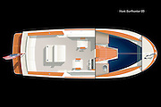 Vector rendering of the deck accommodation plan of the Hunt Surfhunter 25 yacht.