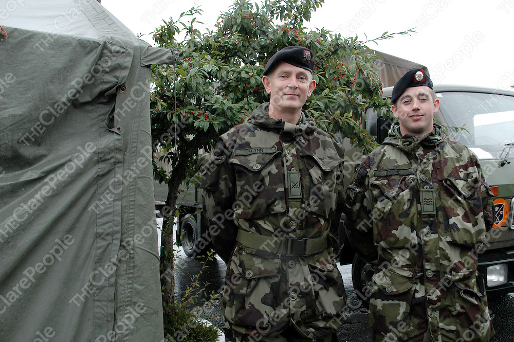 26/09/2005<br /> Paddy Flynn, Carrigaholt, Henry Byrne, Kilrush, at Sarsfield Barracks, Limerick, for Defence Minister Willie O'Dea's inspection of the infantry before their departure to Kosovo.<br /> Picture. Cathal Noonan/Press22.
