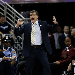 Apr 9, 2013; New Orleans, LA, USA; Connecticut Huskies head coach Geno Auriemma reacts against the Louisville Cardinals during the first half of the championship game in the 2013 NCAA womens Final Four at the New Orleans Arena. Mandatory Credit: Derick E. Hingle-USA TODAY Sports