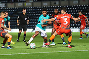 Forest Green Rovers Reuben Reid(26) tries to get past Wycombe Wanderers Joe Jacobson(3) during the 2nd round of the Carabao EFL Cup match between Wycombe Wanderers and Forest Green Rovers at Adams Park, High Wycombe, England on 28 August 2018.