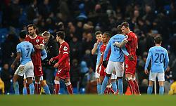 Aden Flint of Bristol City shakes hands with Eliaquim Mangala of Manchester City at full time - Mandatory by-line: Matt McNulty/JMP - 09/01/2018 - FOOTBALL - Etihad Stadium - Manchester, England - Manchester City v Bristol City - Carabao Cup Semi-Final First Leg