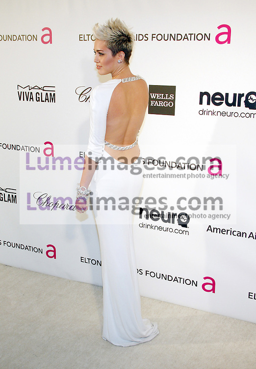 Miley Cyrus at the 21st Annual Elton John AIDS Foundation Academy Awards Viewing Party held at the Pacific Design Center in West Hollywood on February 24, 2013 in Los Angeles, California. Credit: Lumeimages.com