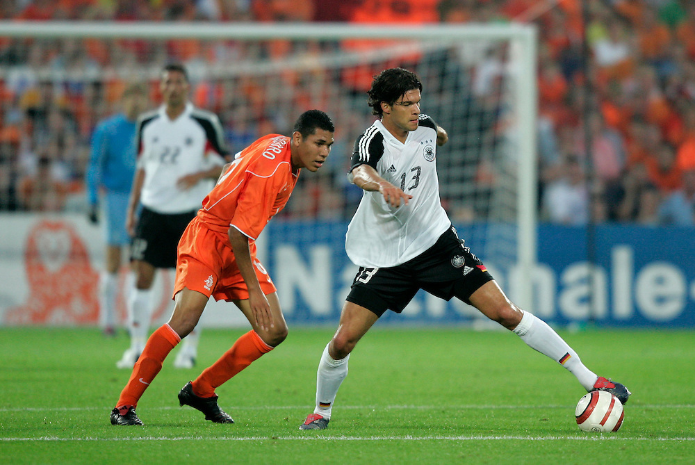 Holland. Rotterdam. 17/08/05. Holland-Germany. Hedwiges Maduro(L) and Michael Ballack.  Photo: Gerrit de Heus