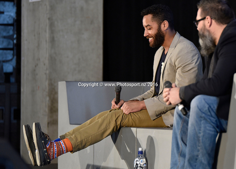 Samuel Anderson from Dr Who speaks to fans during the Armageddon Expo at Westpac Stadium on Saturday the 4th of June 2016. Copyright Photo by Marty Melville / www.Photosport.nz
