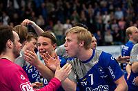 2019-04-23 | Jönköping, Sweden: IF Hallby HK (7) Olle Ek celebrates the win after the qualifying game 4 to Swedish Handball League between IF Hallby HK and HIF Karlskrona at Idrottshuset ( Photo by: Marcus Vilson | Swe Press Photo )<br /> <br /> Keywords: Idrottshuset, Jönköping, Handball, Qualifying Game 4, IF Hallby HK, HIF Karlskrona, Sport