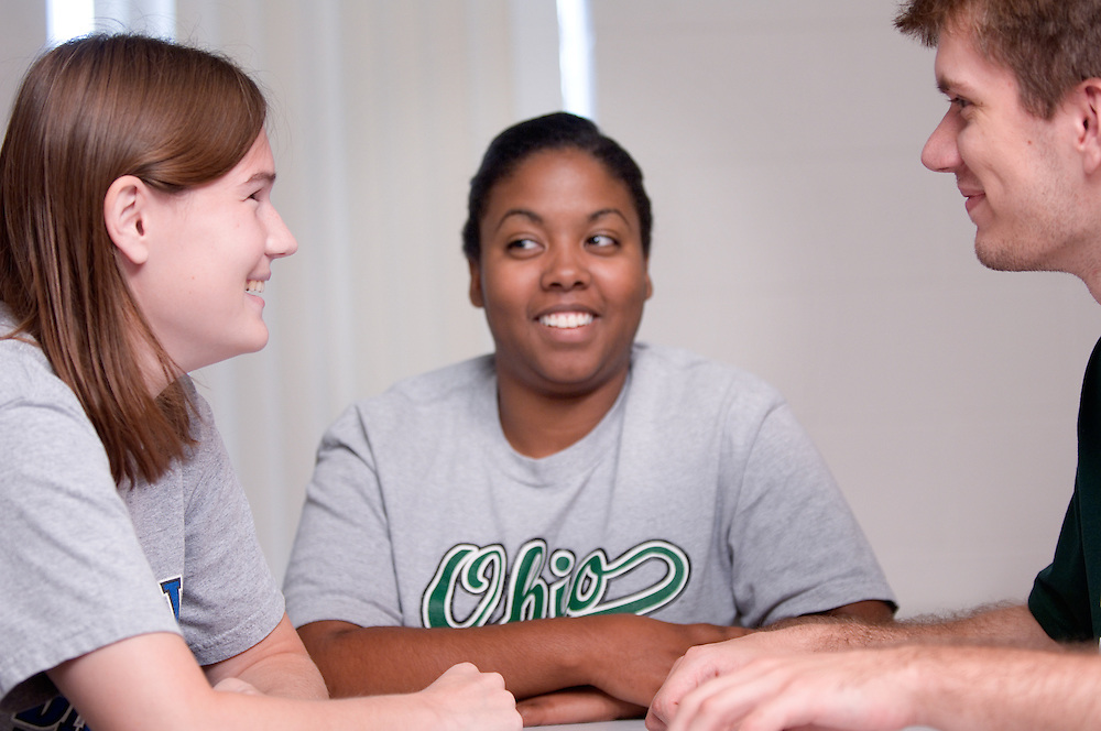 18315OU Zanesville Campus Shots: ...left to right:.Ashley Mitchell, Keisha Norris, Mark Walsh