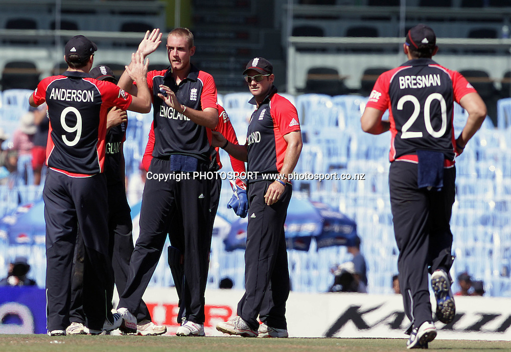 England celebrate another wicket from Stuart Broad. ICC Cricket World Cup 2011. Africa v England. MA Chidambaram Stadium, Chepauk, Chennai, 6 March 2011. Photo: photosport.co.nz