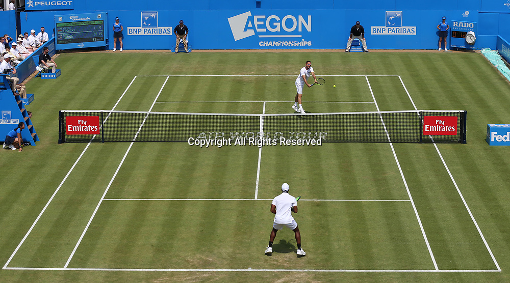 June 21st 2017, Queens Club, West Kensington, London; Aegon Tennis Championships, Day 3; General view of Centre Court as Viktor Troicki of Serbia plays a backhand versus Donald Young of USA