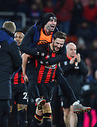 Diego Rico (21) of AFC Bournemouth and Dan Gosling (4) of AFC Bournemouth celebrates the 4-0 win over Chelsea at full time during the Premier League match between Bournemouth and Chelsea at the Vitality Stadium, Bournemouth, England on 30 January 2019.