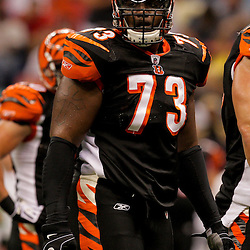 2009 August 14: Cincinnati Bengals offensive tackle Anthony Collins (73) on the field during a preseason opener between the Cincinnati Bengals and the New Orleans Saints at the Louisiana Superdome in New Orleans, Louisiana.