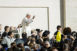 November 12, 2016 - Vatican City, Vatican - Pope Francis rides on the Popemobile through the crowd of the faithful as he arrives to celebrate the last Saturday Jubilee Audience as part of ongoing celebrations of the Holy Year of Mercy in St. Peter's Square in Vatican City, Vatican. Pope Francis presided over the last special audience for the Jubilee of Mercy this morning, during which he called on Christians to witness to God's mercy by being inclusive. (Credit Image: © Giuseppe Ciccia/Pacific Press via ZUMA Wire)