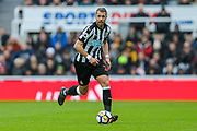 Florian Lejeune (#20) of Newcastle United on the ball during the Premier League match between Newcastle United and Huddersfield Town at St. James's Park, Newcastle, England on 31 March 2018. Picture by Craig Doyle.