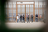 Palazzo San Gervasio (PZ) 14.06.2011 - Centro di Identificazione ed Espulsione. Una delegazione di parlamentari composta dai deputati Jean Leonard Touadi (Pd), Rosa Villecco Calipari (Pd) e Giuseppe Giulietti (Gruppo misto) - che oggi e' entrata nel Centro di identificazione ed espulsione (Cie) di Palazzo San Gervasio - ne ha chiesto ''l'immediata chiusura, per via delle inaccettabili condizioni di detenzione in cui versano 57 giovani tunisini''. Nella Foto: L'interno del Cie..Foto Giovanni Marino