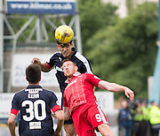 Dundee&rsquo;s Julen Etxabeguren oujumps Aberdeen&rsquo;s Adam Rooney - Dundee v Aberdeen in the Ladbrokes Scottish Premiership at Dens Park, Dundee. Photo: David Young<br /> <br />  - &copy; David Young - www.davidyoungphoto.co.uk - email: davidyoungphoto@gmail.com
