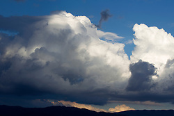 dramatic cloud formations over the mountains in Santa Fe, New Mexico