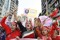 May 1, 2019 - Dhaka, Dhaka, Bangladesh - Bangladeshi garments workers and activists shout slogan as they take part in a rally to celebrate the May day in Dhaka. (Credit Image: © Suvra Kanti Das/ZUMA Wire)