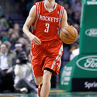 06 March 2012: Houston Rockets point guard Goran Dragic (3) brings the ball up court during the Boston Celtics 97-92 (OT) victory over the Houston Rockets at the TD Garden, Boston, Massachusetts, USA.