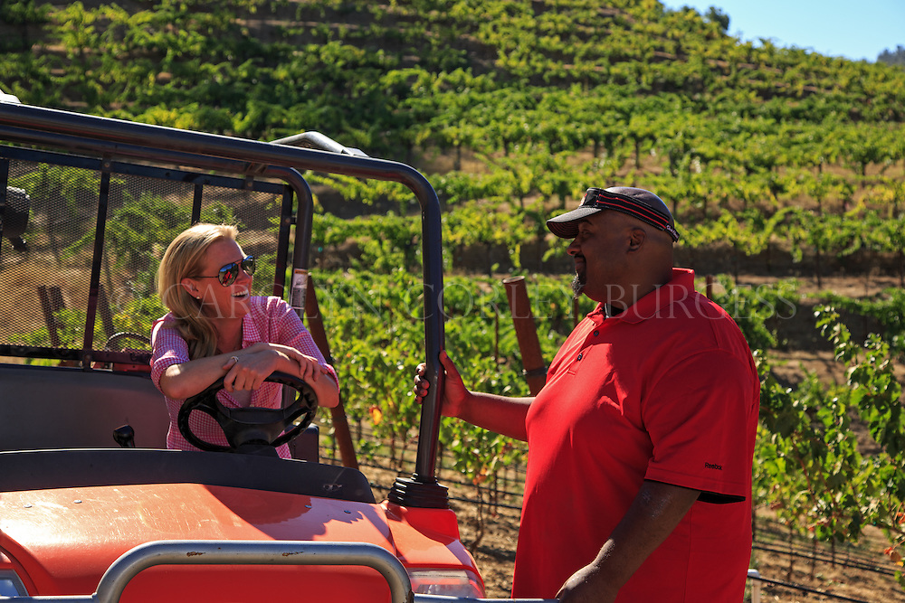 Dave Brown and Molly McCrory Soper discussing the days' harvest at Brown Estate. 2013 Harvest at Brown Estate
