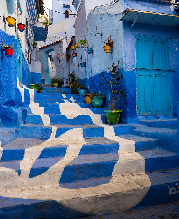 CHEFCHAOUEN, MOROCCO - CIRCA APRIL 2017: Streets of Chefchaouen