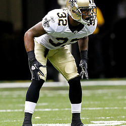 August 12, 2011; New Orleans, LA, USA; New Orleans Saints cornerback Johnny Patrick (32) against the San Francisco 49ers during the first half of a preseason game at the Louisiana Superdome. Mandatory Credit: Derick E. Hingle