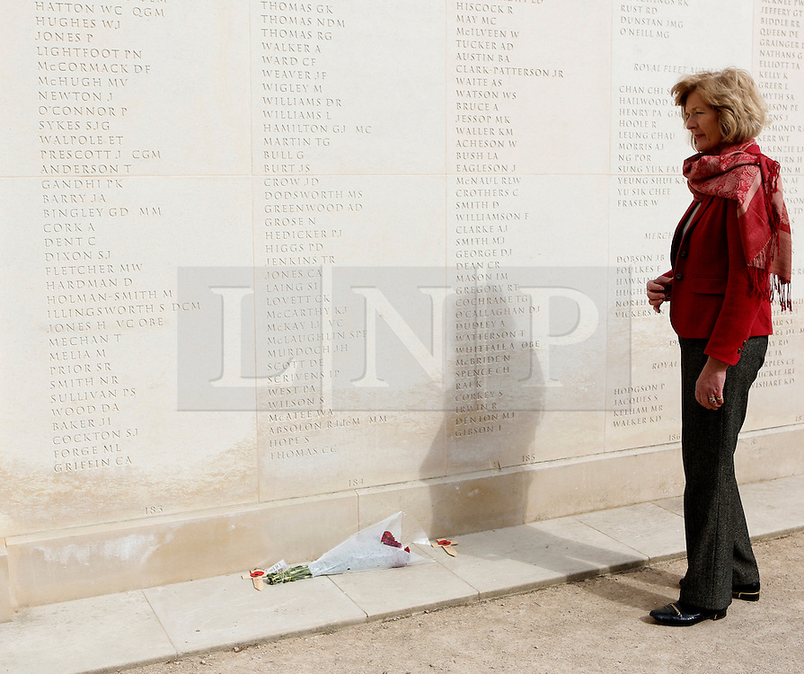 """© Licensed to London News Pictures. 02/04/2012.  Sara Jones, the widow of Lieutenant Colonel 'H"""" Jones who was killed in the Battle of Goose Green visits the Armed Forces Memorial in Alrewas, Staffordshire on the 30th anniversary of the Falklands Conflict.  Col Jones is a posthumous recipient of the Victoria Cross...Along with the service those present were invited to view the ongoing work on a new memorial, initiated by the South Atlantic Medal Association (SAMA 82), to remember the 255 UK servicemen who were killed during the Falklands war.  The memorial is set to be dedicated on the 20 May 2012 in the presence of over 600 veterans.  Photo credit: Alison Baskerville/LNP"""