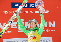 Overall World Cup winner Peter Prevc (SLO) celebrates with the globe  during trophy ceremony after the Ski Flying Hill Individual Competition at Day 4 of FIS Ski Jumping World Cup Final 2016, on March 20, 2016 in Planica, Slovenia. Photo by Vid Ponikvar / Sportida