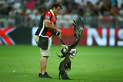 August 22, 2017 - Nice, France - The eagle mascotte of Nice club with the trainer  during the UEFA Champions League Qualifying Play-Offs round, second leg match, between OGC Nice and SSC Napoli at Allianz Riviera Stadium on August 22, 2017 in Nice, France. (Credit Image: © Matteo Ciambelli/NurPhoto via ZUMA Press)