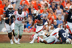 Auburn Tigers running back Kam Martin (9) carries the ball against the Mississippi Rebels during an NCAA football game, Saturday, October 7, 2017, in Auburn, AL. Auburn won 44-23. (Paul Abell via Abell Images for Chick-fil-A Peach Bowl)