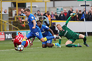 AFC Wimbledon striker Cody McDonald (10) scoring goal to make it 1-0 during the The FA Cup match between AFC Wimbledon and Charlton Athletic at the Cherry Red Records Stadium, Kingston, England on 3 December 2017. Photo by Matthew Redman.