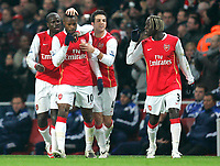 Photo: Tom Dulat/Sportsbeat Images.<br /> <br /> Arsenal v Chelsea. The FA Barclays Premiership. 16/12/2007.<br /> <br /> Arsenal's William Gallas celebrates his goal. Arsenal leads 1-0. L to R: Emmanuel Eboue, William Gallas, Cesc Fabregas, Bacary Sagna