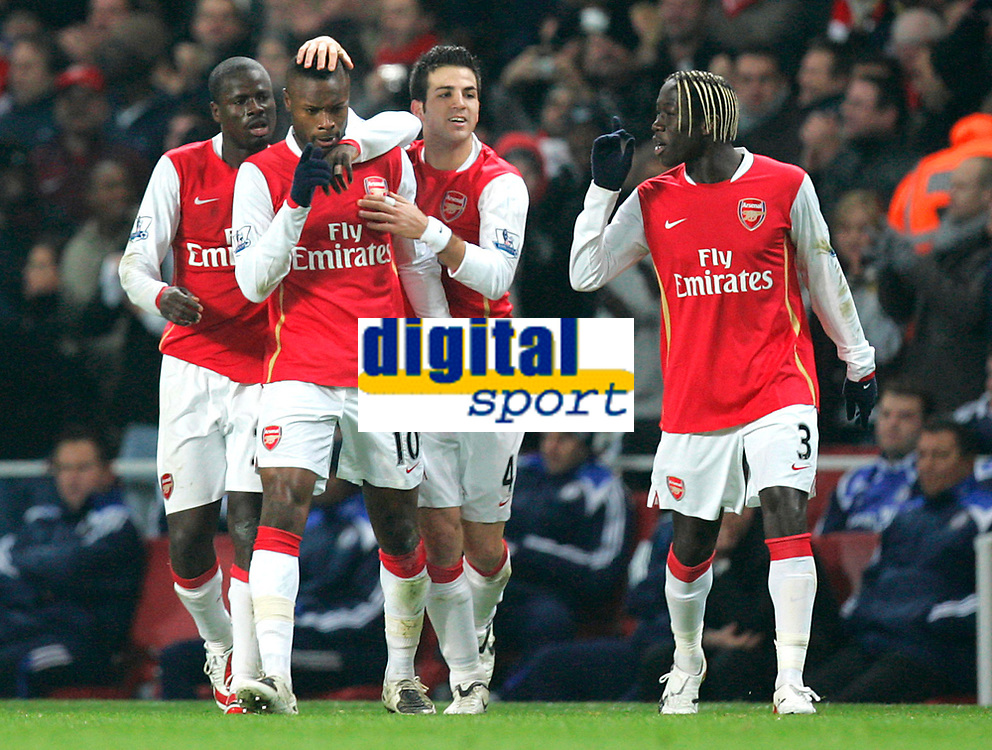 Photo: Tom Dulat/Sportsbeat Images.<br /> <br /> Arsenal v Chelsea. The FA Barclays Premiership. 16/12/2007.<br /> <br /> Arsenal's William Gallas celebrates his goal. Arsenal leads 1-0. L to R: Emmanuel Eboue, William Gallas, Cesc Fabregas, Bacary Sagna