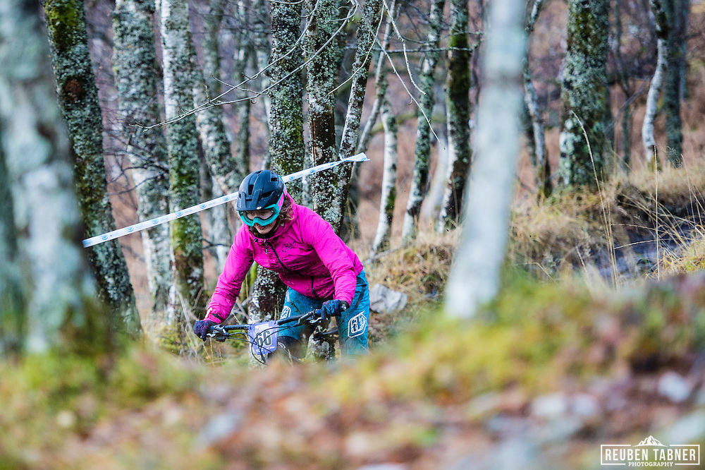 Louise Ferguson descends through the trees on stage three of the Kinlochleven Enduro.