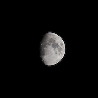 Waxing Gibbous Moon (75%). Autumn Night in New Jersey. Image taken with a Nikon D3s and 600 mm f/4 VR lens.  (ISO 200, 600 mm, f/4, 1/800 sec).