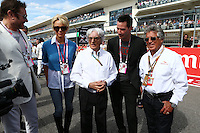 (L to R): Simon Le Bon (GBR) Duran Duran Lead Singer with Pamela Anderson (USA) Actress; Bernie Ecclestone (GBR); Keanu Reeves (USA) Actor; and Mario Andretti (USA) Circuit of The Americas' Official Ambassador.<br /> United States Grand Prix, Sunday 2nd November 2014. Circuit of the Americas, Austin, Texas, USA.