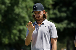 September 21, 2018 - Atlanta, GA, U.S. - ATLANTA, GA - SEPTEMBER 21:    Tommy Fleetwood lines up a putt during the second round of the Tour Championship on September 21, 2018, at East  Lake Golf Club in Atlanta, GA.  (Photo by Michael Wade/Icon Sportswire) (Credit Image: © Michael Wade/Icon SMI via ZUMA Press)