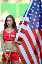 16.07.2011, Ernst Happel Stadion, Wien, AUT, American Football WM 2011, United States of America (USA) vs Canada (CAN), im Bild cheerleader with flag from USA // during the American Football World Championship 2011 game, USA vs Canada, at Ernst Happel Stadion, Wien, 2011-07-16, EXPA Pictures © 2011, PhotoCredit: EXPA/ T. Haumer