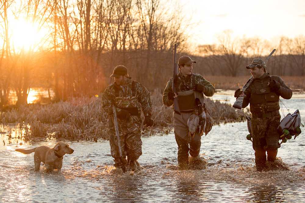 Three friends and their dog walking through a duck swamp in Virginia.