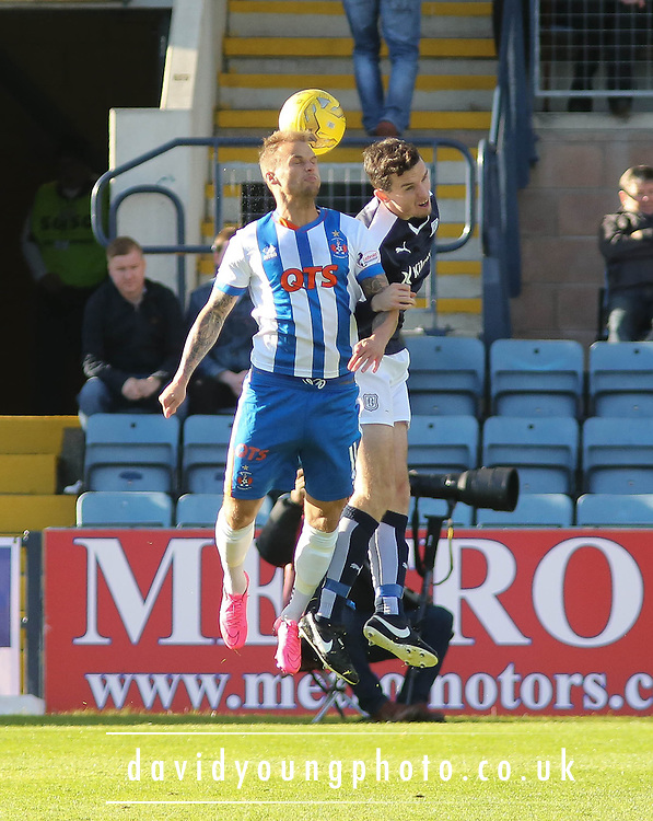Kilmarnock&rsquo;s Kallum Higginbotham and Dundee&rsquo;s Paul McGinn - Dundee v Kilmarnock, Ladbrokes Premiership at Dens Park <br /> <br />  - &copy; David Young - www.davidyoungphoto.co.uk - email: davidyoungphoto@gmail.com