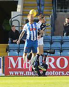 Kilmarnock&rsquo;s Kallum Higginbotham and Dundee&rsquo;s Paul McGinn - Dundee v Kilmarnock, Ladbrokes Premiership at Dens Park <br /> <br />  - &copy; David Young - www.davidyoungphoto.co.uk - email: davidyoungphoto@gmail.com