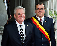 Joachim Gauck and Willy Demeyer Mayor of Liege: Lunch at the Provincial Palace during the Commemoration of the 100th anniversary of the First World War, in Li&egrave;ge, Belgium, on August 4, 2014.<br /> <br /> Joachim Gauck et Willy Demeyer bourgemestre de Liege: Lunch au Palais Provincial lors des comme&acute;morations organise&acute;es par le<br /> Gouvernement fe&acute;de&acute;ral belge a` l&rsquo;occasion<br /> du Centi&egrave;me anniversaire de la<br /> Premie`re Guerre mondiale, &agrave; Li&egrave;ge, Belgique. 4 Ao&ucirc;t 2014.