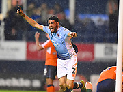 Blackpool player Kelvin Mellor celebrates his late goal in the second half during the EFL Sky Bet League 2 play off second leg match between Luton Town and Blackpool at Kenilworth Road, Luton, England on 18 May 2017. Photo by Ian  Muir.