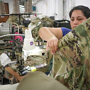 JUNE 28, 2016 --- COROZAL, PUERTO RICO<br /> Hidalis Cruz Rivera works in a production line at Bluewater Defense in Corozal. The company makes pants for the US Army.<br /> (Photo by Angel Valentin/Freelance)