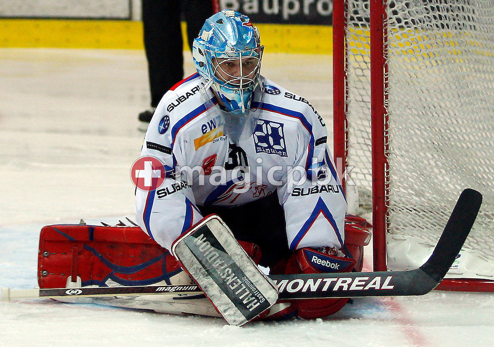 ZSC Lions goaltender Lukas Flueeler is pictured during ice hockey game one of the Swiss National League A Playoff Quarterfinal between Kloten Flyers and ZSC Lions held at the Kolping Arena in Kloten, Switzerland, Saturday, Feb. 26, 2011. (Photo by Patrick B. Kraemer / MAGICPBK)