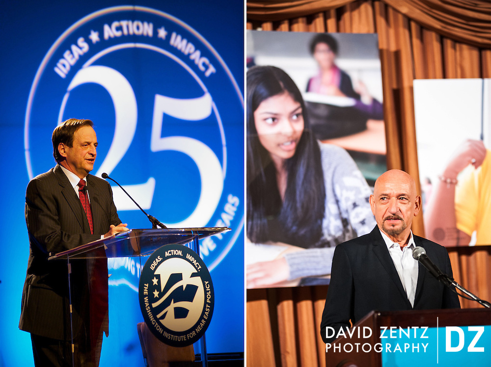 Deputy Prime Minister of Israel Dan Meridor and Sir Ben Kingsley at non-profit events in Beverly Hills.