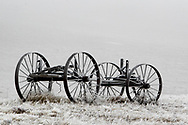 A frosty wagon near Hillsdale, Wyoming, on Friday, Feb. 9, 2018.