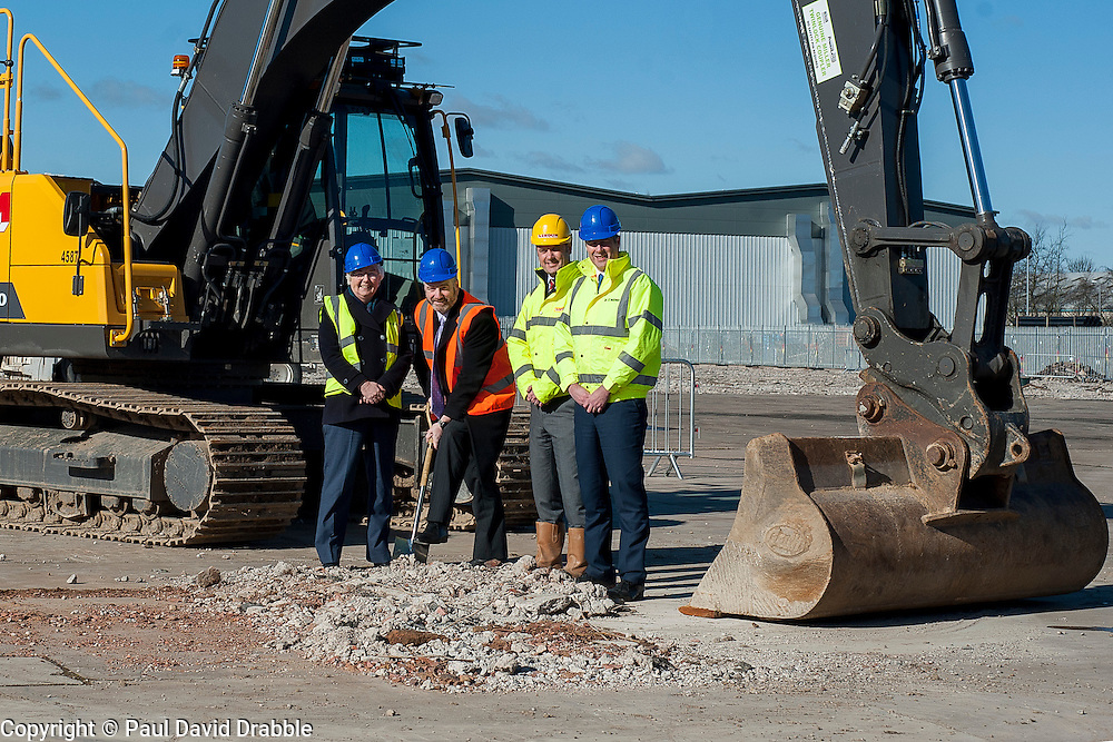 A ground-breaking ceremony to mark St. Modwen, the UK's leading regeneration specialist's first phase of a major new 250,000 sq ft commercial development at Parkside Business Park in Doncaster From Left to Right <br /> Cllr Ros Jones Mayor of Doncaster, Councillor Bill Mordue, Portfolio Holder for Business, Skills, Tourism and Culture,  <br /> Jonathan Sizer from Lindum York and  Rob Richardson from St. Modwen<br /> <br /> 07 March 2016<br />  Copyright Paul David Drabble<br />  www.pauldaviddrabble.co.uk
