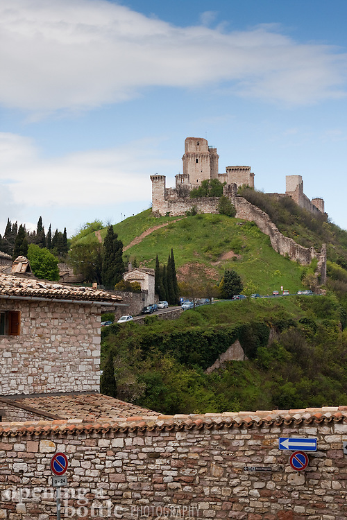 Rocca Maggiore crowns the hilltop above Assisi, Umbria, Italy.